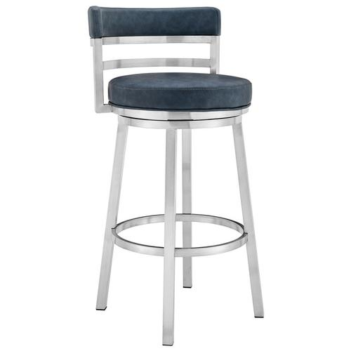 "Madrid Contemporary 26"" Counter Height Barstool in Brushed Stainless Steel Finish and Blue Faux Leather"