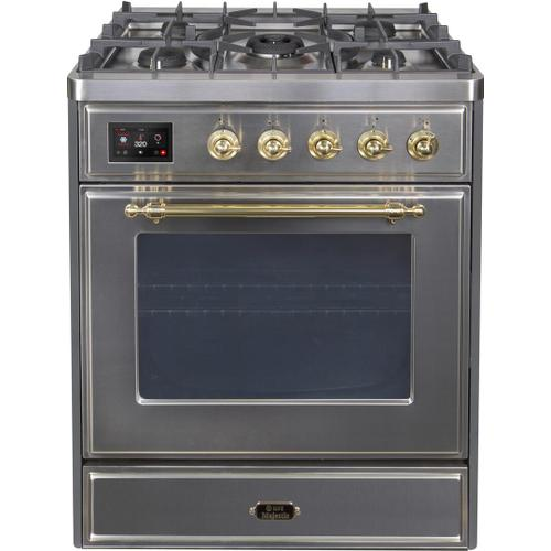 Majestic II 30 Inch Dual Fuel Liquid Propane Freestanding Range in Stainless Steel with Brass Trim