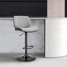 View Product - Brock Adjustable Grey Faux Leather and Black Wood Bar Stool with Black Base