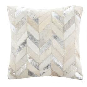 Brea Metallic Cowhide Pillow - Silver