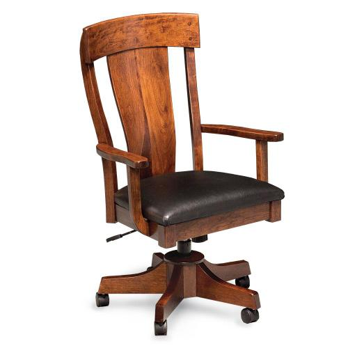 Simply Amish - Harlow Arm Desk Chair, Wood Seat