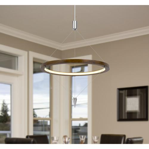 Viterbo integrated dimmable LED pine wood pendant fixture with suspended steel braided wire. 24W, 1920 lumen, 3000K
