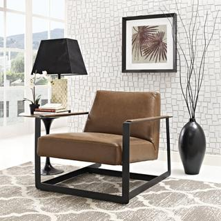 Seg Vegan Leather Upholstered Vinyl Accent Chair in Brown