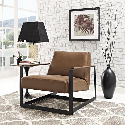 Modway - Seg Vegan Leather Accent Chair in Brown