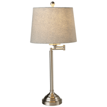 Brushed Silver Swing Arm Table Lamp with Herringbone Shade. 60W Max.