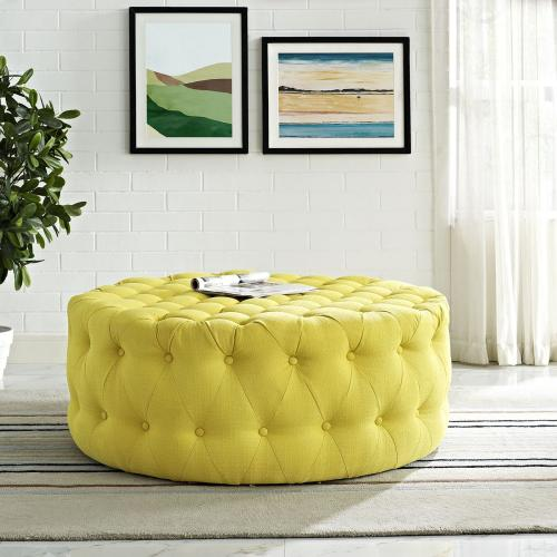 Amour Upholstered Fabric Ottoman in Sunny