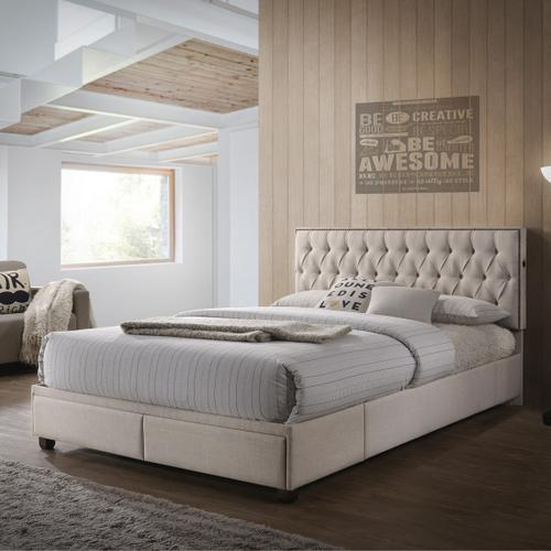 Beige Upholstered All-in-One Tufted Queen Storage Bed with USB