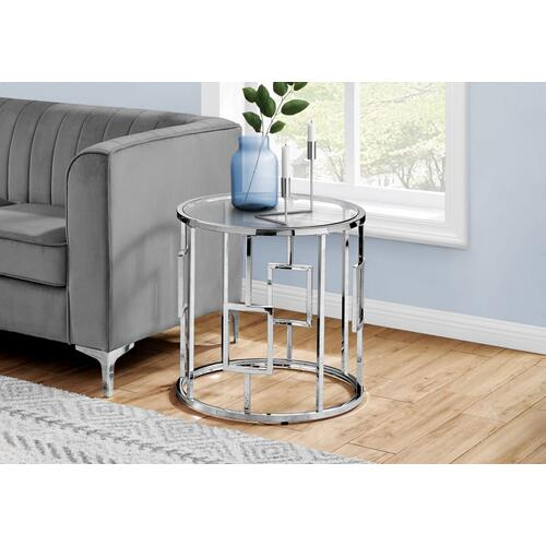 """Gallery - ACCENT TABLE - 23""""H / CHROME METAL WITH TEMPERED GLASS"""