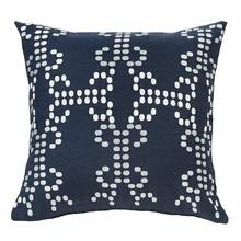 Kavali Navy Linen Throw Pillow W/ Embroidery