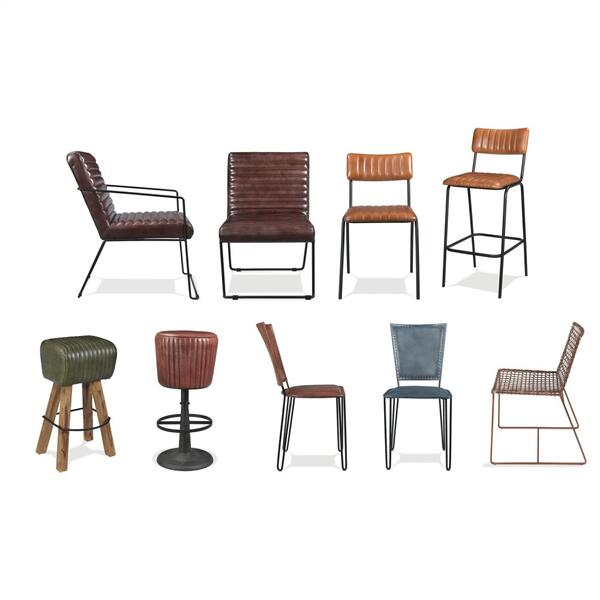 Mix-n-match Chairs - Tufted Leather Swivel Bar Stool - Obsidian Finish