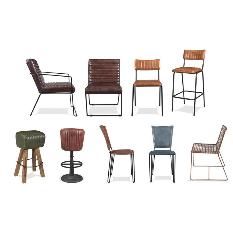 Mix-n-match Chairs - Tufted Leather Bar Stool - Obsidian Finish