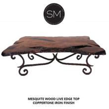 """Solid Mesquite Wood from Texas Rectangular Coffee Table - 60"""" x 32"""" / Round Corners / Travertine"""