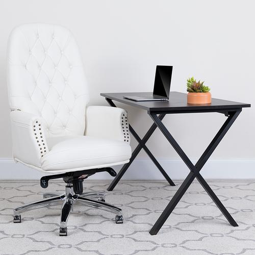 Gallery - High Back Traditional Tufted White LeatherSoft Multifunction Executive Swivel Ergonomic Office Chair with Arms