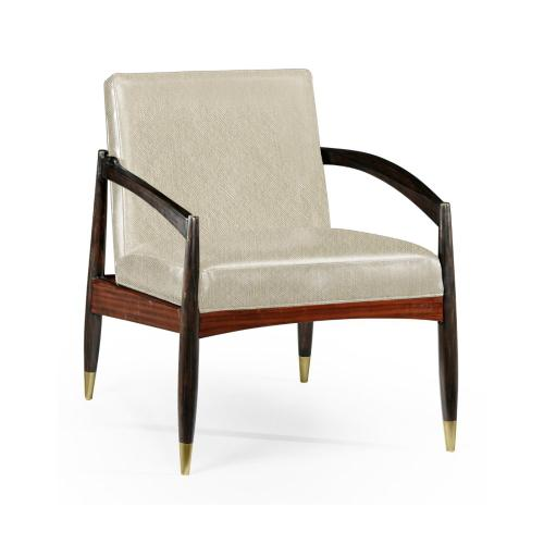 Contemporary Santos Rosewood & Ebonised Occasional Chair, Upholstered in Skipper