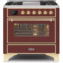 Majestic II 36 Inch Dual Fuel Natural Gas Freestanding Range in Burgundy with Brass Trim