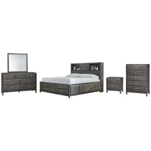 Ashley - King Storage Bed With 8 Storage Drawers With Mirrored Dresser, Chest and Nightstand