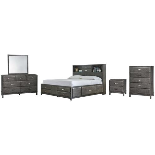 King Storage Bed With 8 Storage Drawers With Mirrored Dresser, Chest and Nightstand