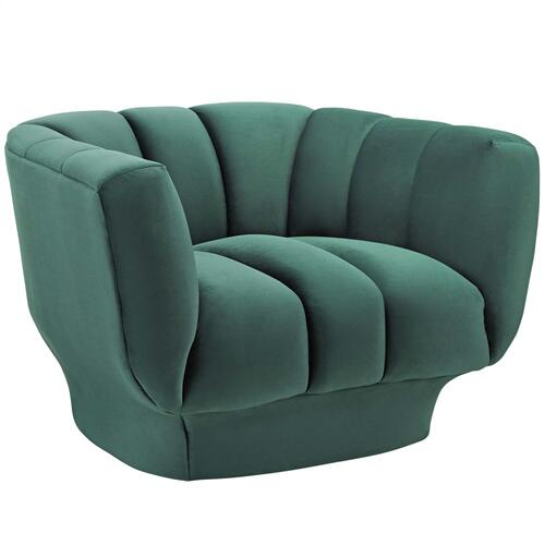 Modway - Entertain Vertical Channel Tufted Performance Velvet Armchair Set of 2 in Green