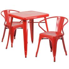 "Commercial Grade 23.75"" Square Red Metal Indoor-Outdoor Table Set with 2 Arm Chairs"