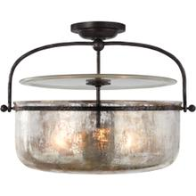 Visual Comfort CHC4270AI-MG E. F. Chapman Lorford 3 Light 20 inch Aged Iron Semi-Flush Lantern Ceiling Light, Medium