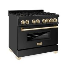 """See Details - ZLINE Autograph Edition 36"""" 4.6 cu. ft. Dual Fuel Range with Gas Stove and Electric Oven in Black Stainless Steel with Accents (RABZ-36) [Color: Gold]"""
