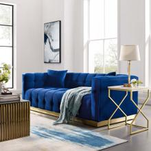 Vivacious Biscuit Tufted Performance Velvet Sofa in Navy