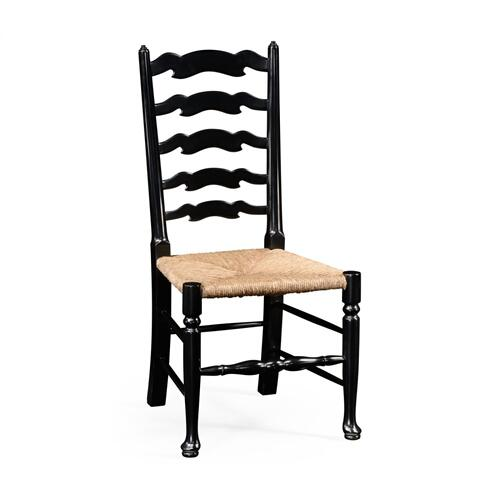 Black painted ladder back chair (Side)