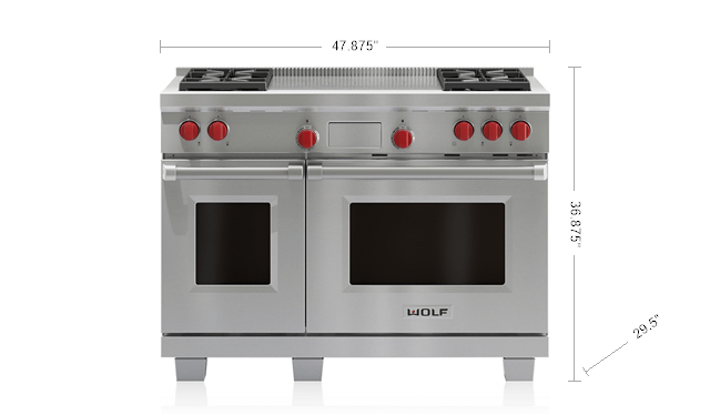"WolfLegacy Model - 48"" Dual Fuel Range - 4 Burners And French Top"