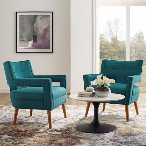 Sheer Upholstered Fabric Armchair Set of 2 in Teal