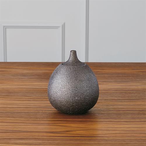 Lidded Gourde-Textured-Bronze