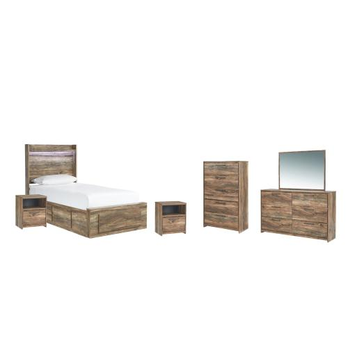 Twin Panel Bed With 5 Storage Drawers With Mirrored Dresser, Chest and 2 Nightstands