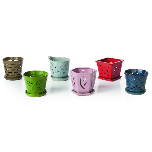 """6"""" Orchid Pot Assortmnt w/attchd saucer 6 mix/ctn"""