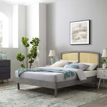 Sierra Cane and Wood King Platform Bed With Angular Legs in Gray