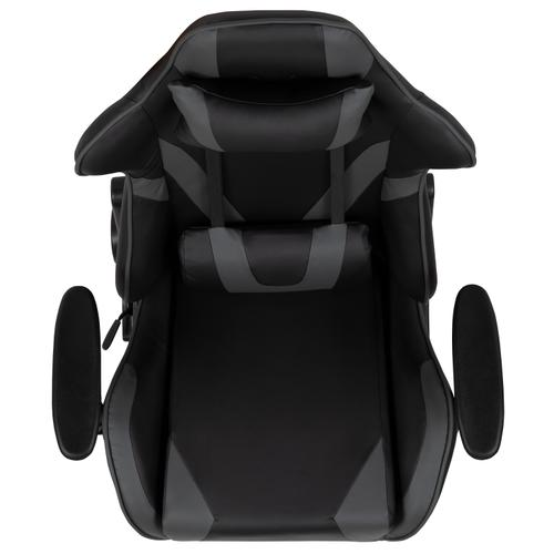 Gallery - X20 Gaming Chair Racing Office Ergonomic Computer PC Adjustable Swivel Chair with Reclining Back in Gray LeatherSoft