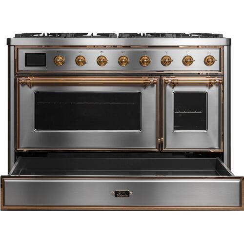 Majestic II 48 Inch Dual Fuel Liquid Propane Freestanding Range in Stainless Steel with Brass Trim