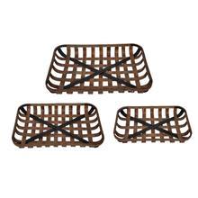 Wood Metal Baskets, Set of 3