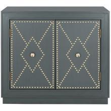 See Details - Erin 2 Door Chest - Steel Teal Linen / Gold / Mirror