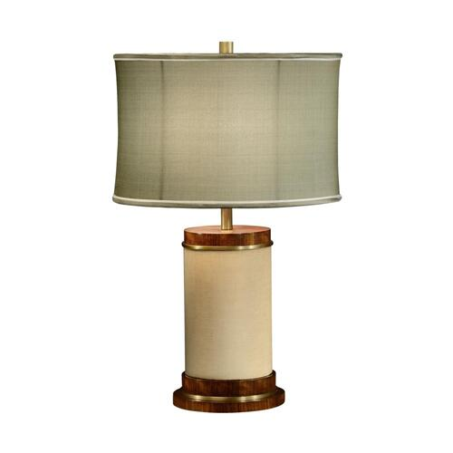 Ivory finish hyedua circular table lamp.