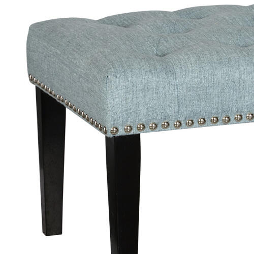 Accentrics Home - Diamond Button Tufted Upholstered Bed Bench in Lunar Chambray