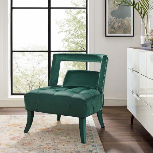 Honor Accent Lounge Performance Velvet Armchair in Green
