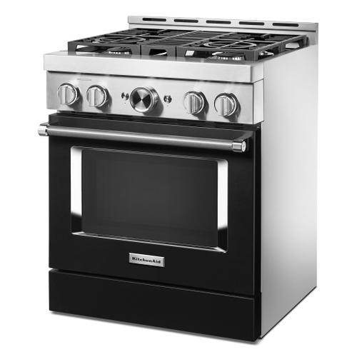 KitchenAid® 30'' Smart Commercial-Style Gas Range with 4 Burners - Imperial Black