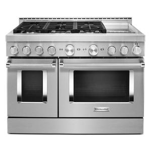 KitchenAidKitchenAid® 48'' Smart Commercial-Style Gas Range with Griddle - Heritage Stainless Steel