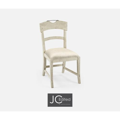 Planked White Wash Driftwood Dining Side Chair, Upholstered in Skipper