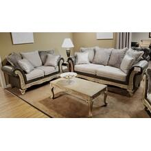 San Marino 2-Tone Fabric Wooden Frame Sofa and Loveseat Set, Gray