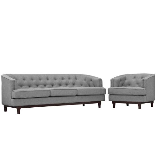 Coast Living Room Set Set of 2 in Light Gray