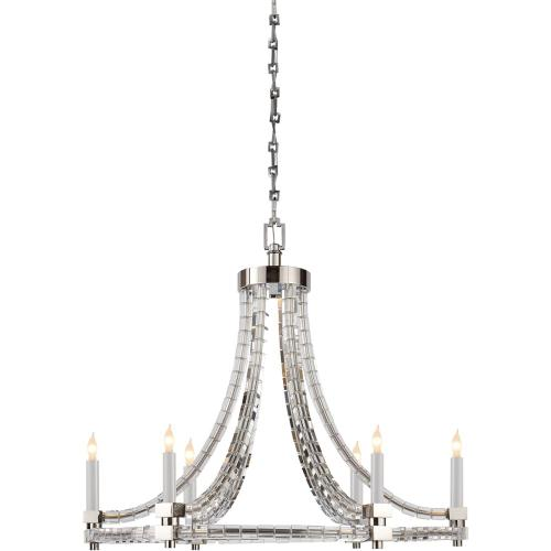 Visual Comfort CHC1535PN E. F. Chapman Crystal Cube 6 Light 30 inch Polished Nickel Chandelier Ceiling Light