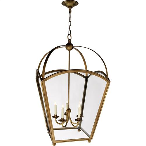 Visual Comfort CHC3441AB E. F. Chapman Arch Top 5 Light 26 inch Antique-Burnished Brass Foyer Pendant Ceiling Light
