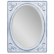 Blue & White Enamel Embossed Corner Oval Wall Mirror