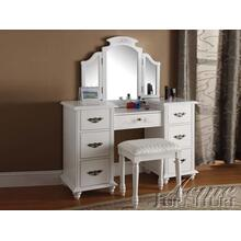 Torian White Finish Vanity Set