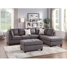 Elroy 3pc Sectional Sofa Set, Grey-micro-fiber